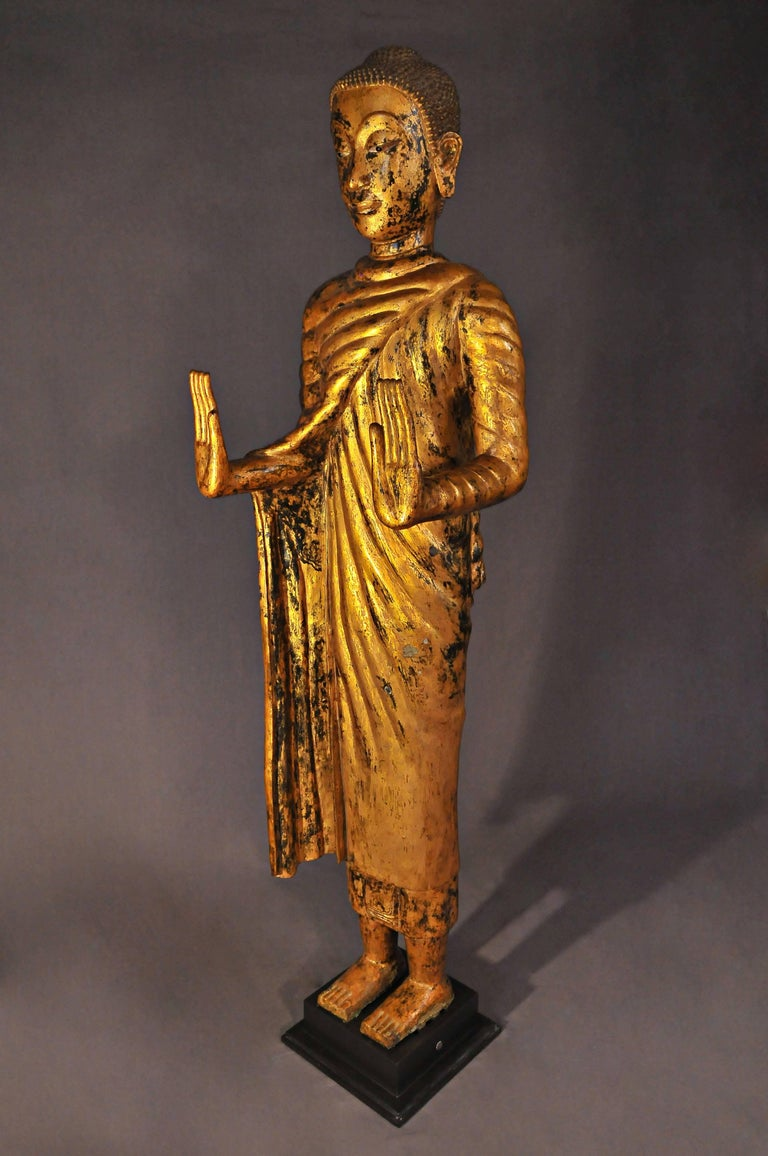 Other Late 17th Century, Gilded Bronze Buddhain Abhaya Mudra, Art of Thailand For Sale