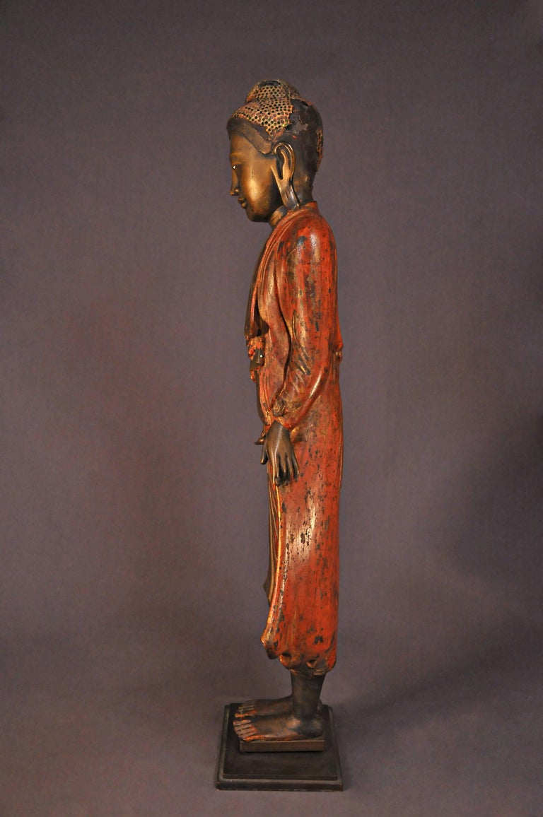 Burmese 18th Century, Lacquered Bronze, Buddha in Abhaya Mudra, Art of Burma For Sale