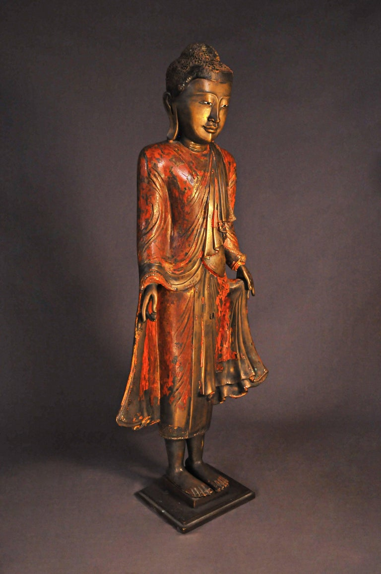 18th Century and Earlier 18th Century, Lacquered Bronze, Buddha in Abhaya Mudra, Art of Burma For Sale