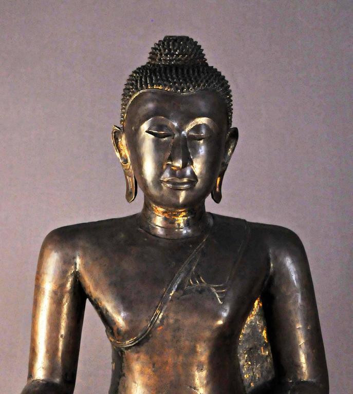 Cast 17th Century Bronze Vajrasana Buddha Maravijaya in BhumisparshaMudra, Thailand For Sale