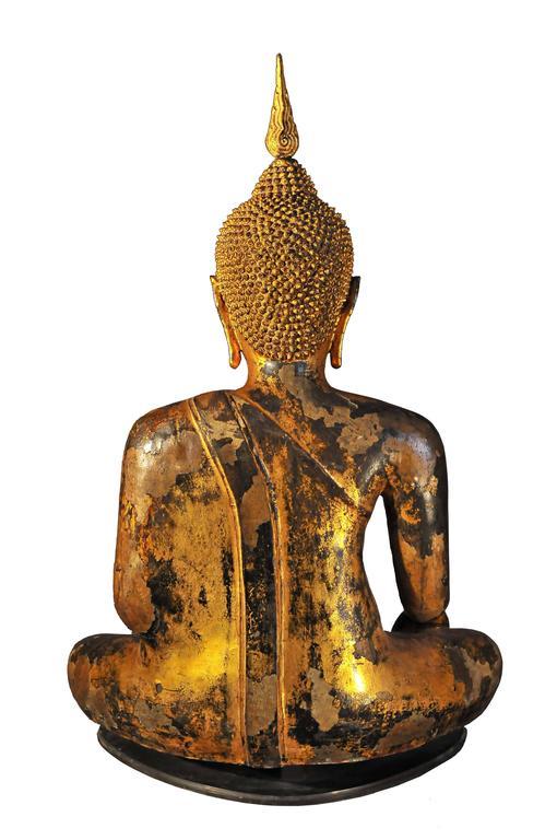 Cast Late 17th Century Gilt Bronze Buddha in Bhumisparsha Mudra, Ayutthaya, Thailand For Sale