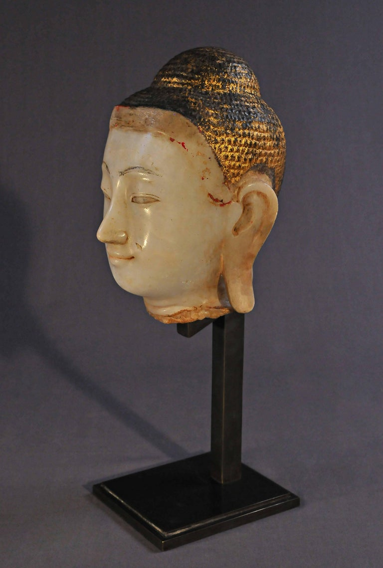 Other 19th Century, Alabaster with Lacquer Buddha Head, Mandalay Period, Art of Burma For Sale