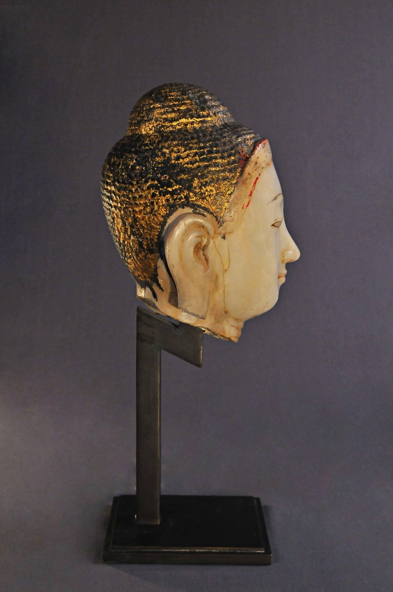 Hand-Carved 19th Century, Alabaster with Lacquer Buddha Head, Mandalay Period, Art of Burma For Sale