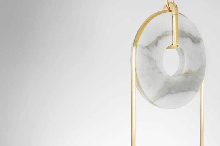 Modern Meridian, Brass, Marble, Handblown Glass Contemporary Pendant, Kalin Asenov For Sale