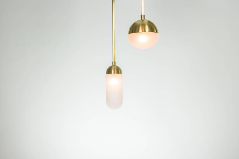 Meridian, Brass, Marble, Handblown Glass Contemporary Pendant, Kalin Asenov For Sale 1