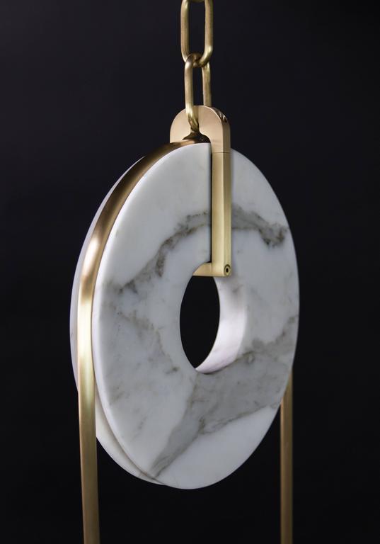 Meridian, Brass, Marble, Handblown Glass Contemporary Pendant, Kalin Asenov For Sale 4