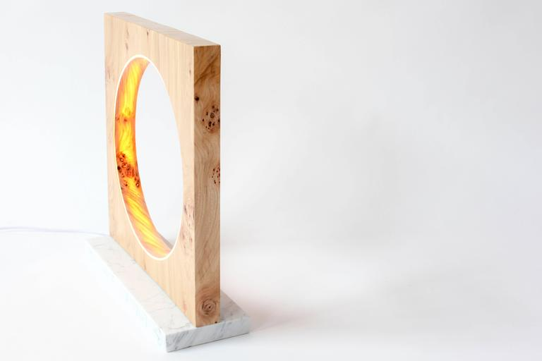 Modern Eclipse, Tabletop Light Sculpture in Elm and Marble by Kalin Asenov For Sale