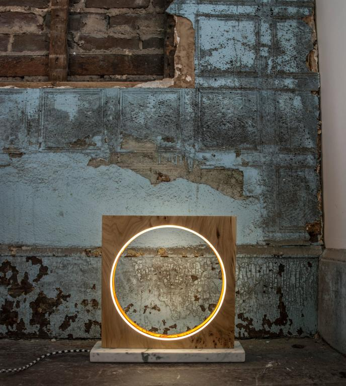 American Eclipse, Tabletop Light Sculpture in Elm and Marble by Kalin Asenov For Sale