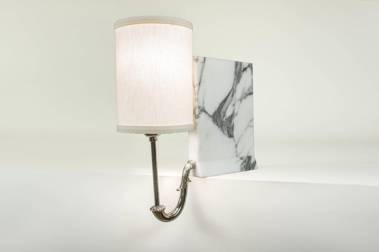 American Library Sconce, Contemporary Bookshelf Sconce in Marble, Polished Nickel, Brass For Sale