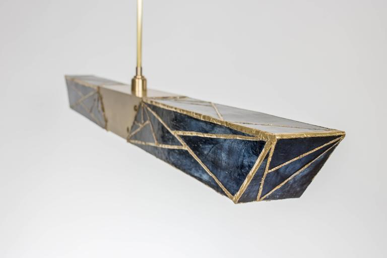 Modern Sceptre, Brass and Stained Glass Contemporary Pendant by Kalin Asenov, 2016 For Sale
