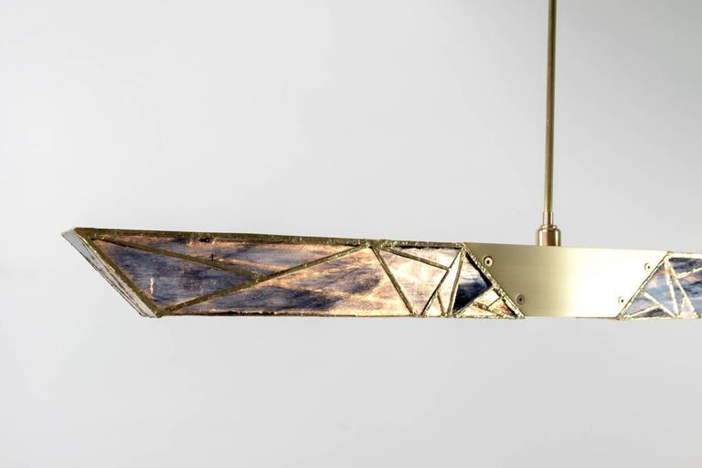 Plated Sceptre, Brass and Stained Glass Contemporary Pendant by Kalin Asenov, 2016 For Sale