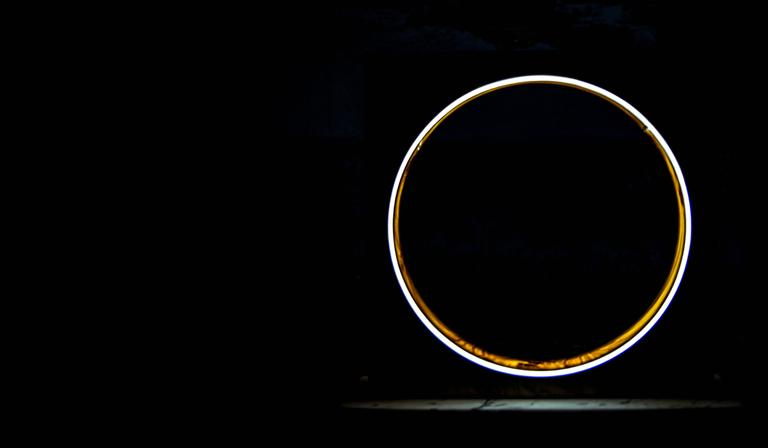 Eclipse, Tabletop Light Sculpture in Elm and Marble by Kalin Asenov For Sale 1