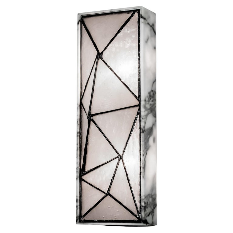 Gem_Stone, Contemporary Wall Sconce in Glass and Carrera Marble by Kalin Asenov For Sale