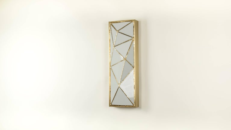 Gem_Gold, Contemporary wall sconce in glass and brass by Kalin Asenov   Standard finish: Pearl - white glass, gold leaf, brass Azure - blue glass, gold leaf, brass Argent - blue/gray glass, silver leaf, brass   Custom glass options