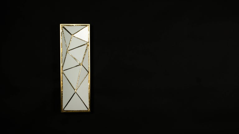 American Gem_Gold, Contemporary Wall Sconce in Glass and Brass by Kalin Asenov For Sale