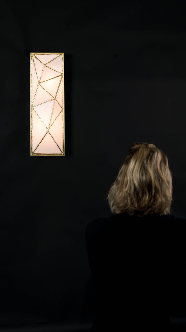 Gem_Gold, Contemporary Wall Sconce in Glass and Brass by Kalin Asenov In New Condition For Sale In Savannah, GA