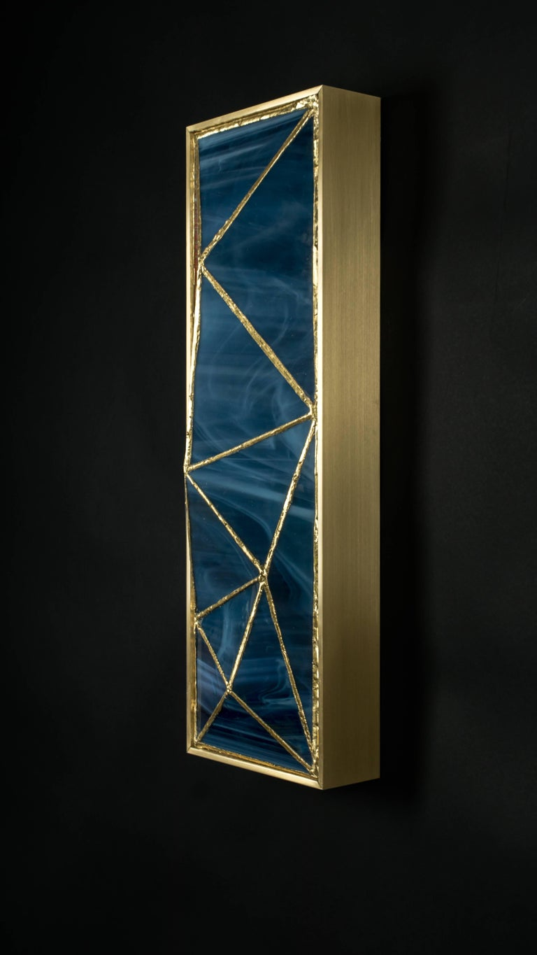 Gem_Gold, Contemporary Wall Sconce in Glass and Brass by Kalin Asenov For Sale 3