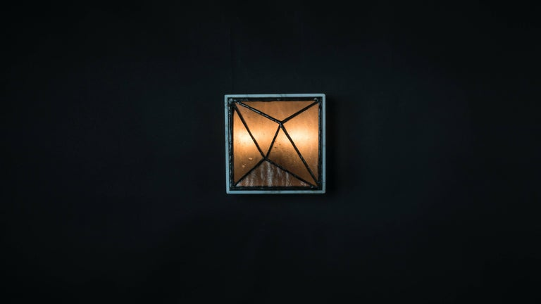 Gem_Stone V.3, Contemporary Wall Sconce in Glass and Marble by Kalin Asenov For Sale 1