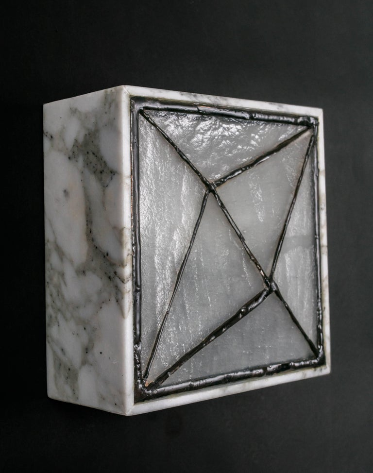 Gem_Stone V.3, Contemporary Wall Sconce in Glass and Marble by Kalin Asenov For Sale 2