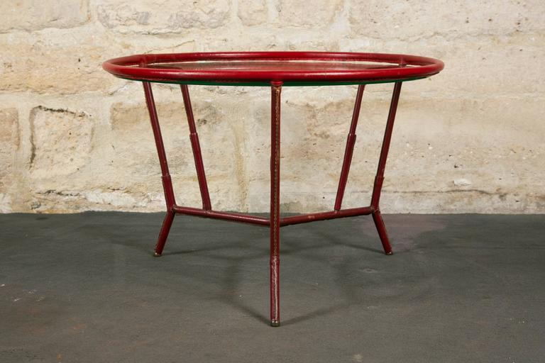 Jacques Adnet Red Leather Wrapped Round Coffee Table At 1stdibs