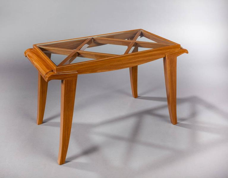 """Very elegant cherry tree coffee table by great French designer Maxime Old. This model was published in French magasin """"Art et Décoration"""" 1948, ? 8, page 4."""