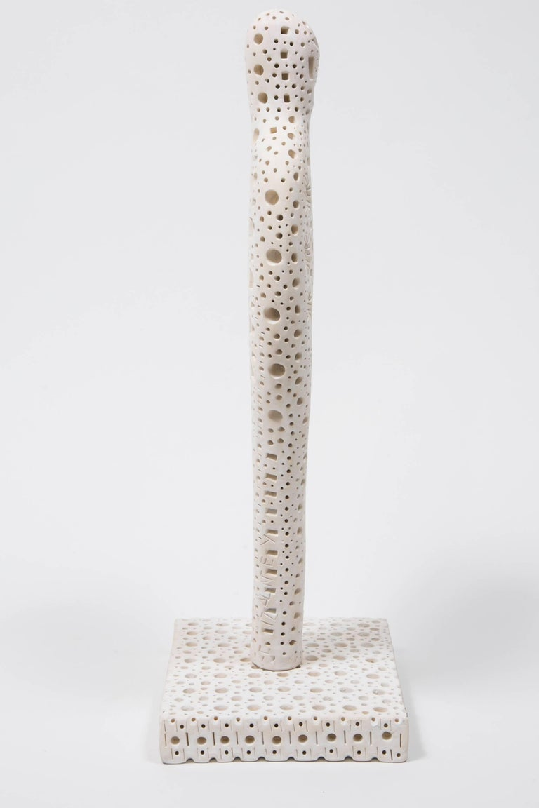 Minimalist White Terracotta Sculpture by Alexandre Ney For Sale