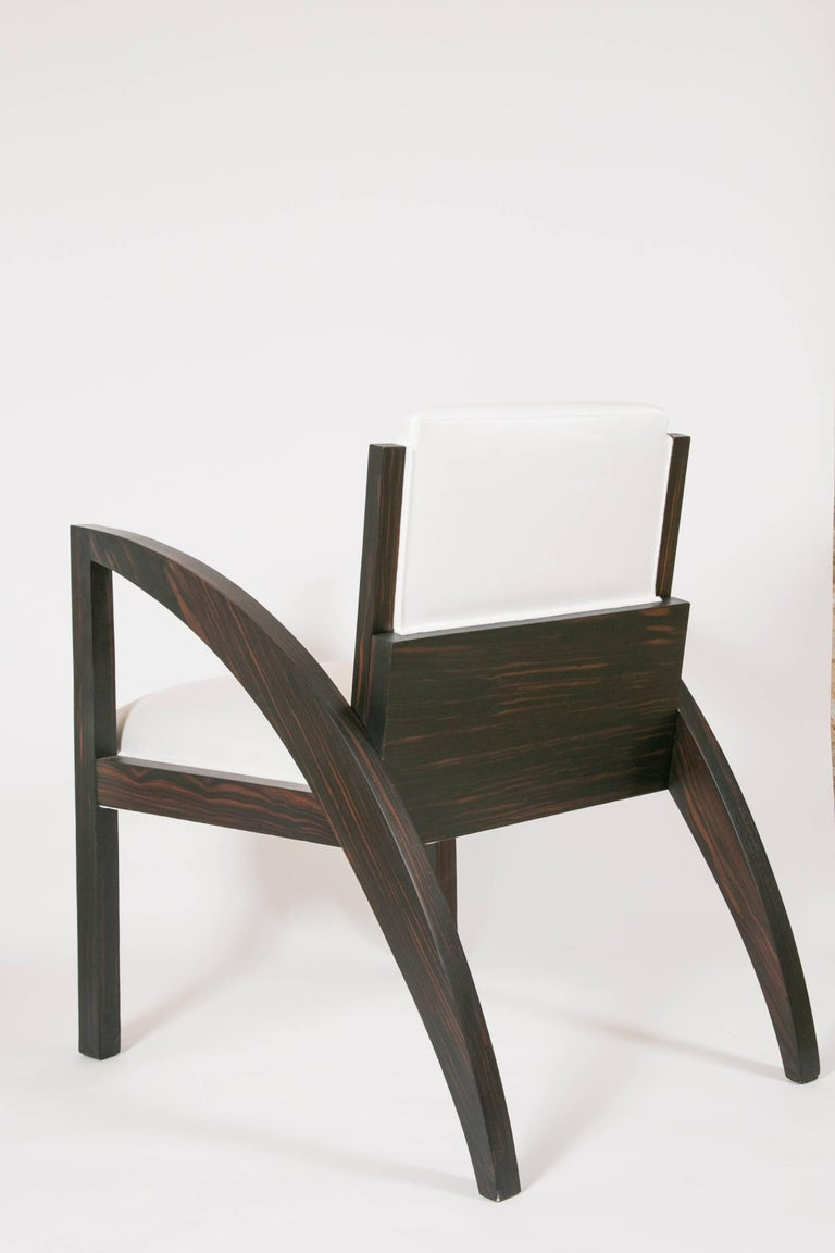 Special limited edition of 50 armchair in Art Deco style by Transatlantique Gallery  Inspired with famous and cult objects of design in France in Art Deco period  Customers can choose from cherrywood or cherrywood with Macassar veneer; mat or