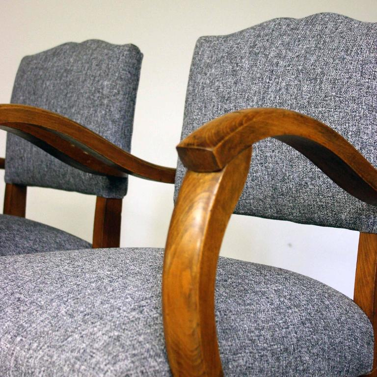 1950s Lounge Armchairs Re Upholstered In Multicolored: 1950s Reupholstered Moustache Back Bridge Chairs At 1stdibs