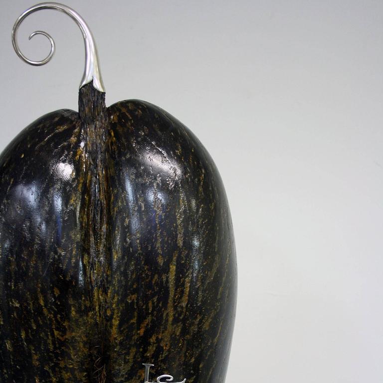 Silvered Coco De Mer Sculpture by Glyn Lockett For Sale