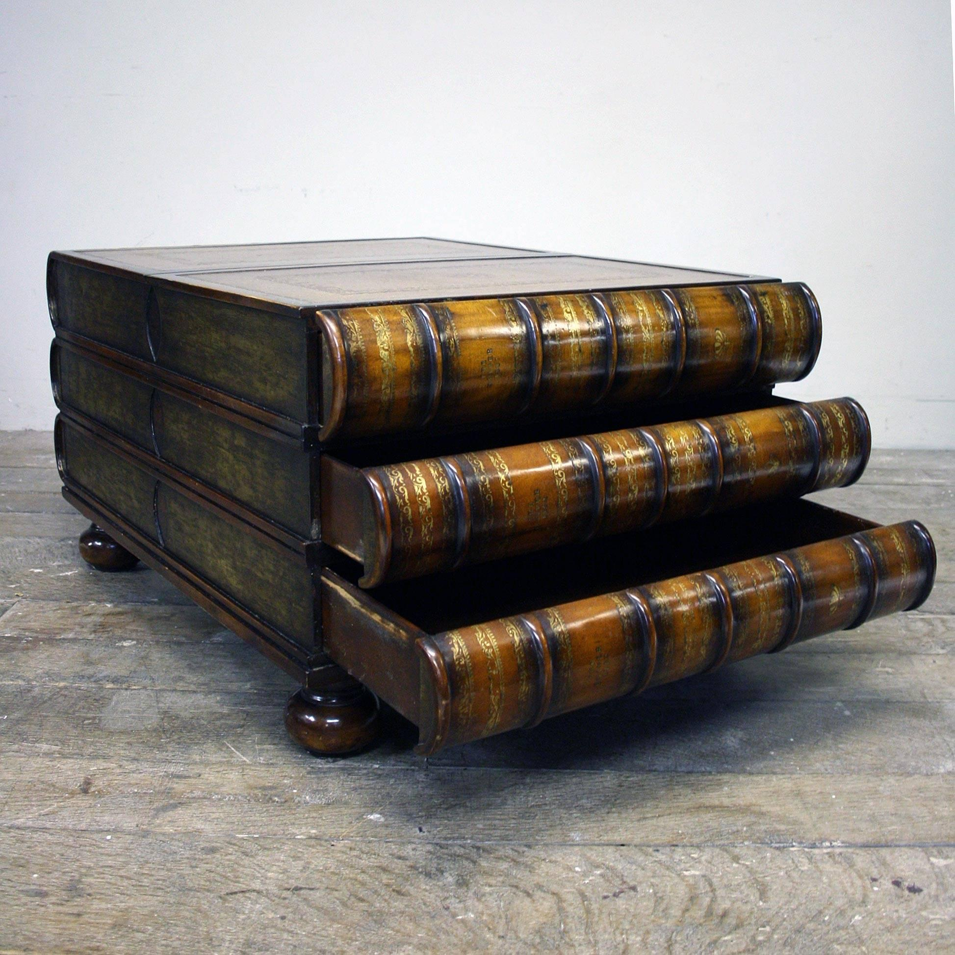 A Late 20th Century Stacked Book Coffee Table With Leather Top, Six Hidden  Drawers In. American Maitland Smith Stacked ...