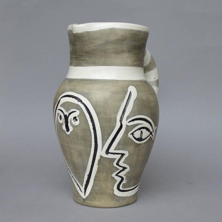Pablo Picasso Madoura Ceramic Grey Engraved Pitcher 1954