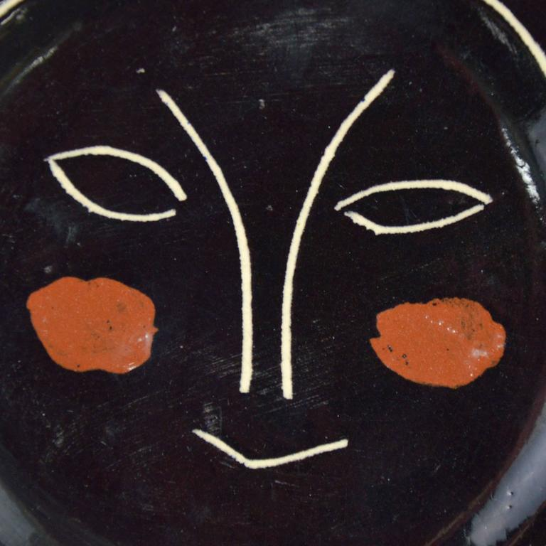 Modern Pablo Picasso Madoura Ceramic Black Face Plate J, 1948 For Sale