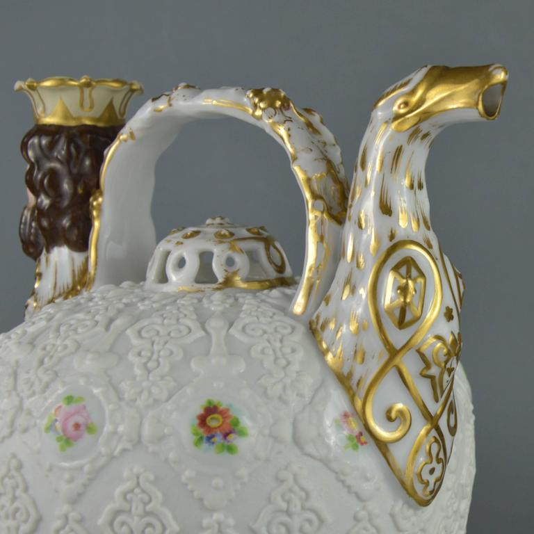 Rare Collectible Porcelain Pitcher, Paris Manufacturer Jacob Petit, 19th Century In Good Condition For Sale In Brussels, BE