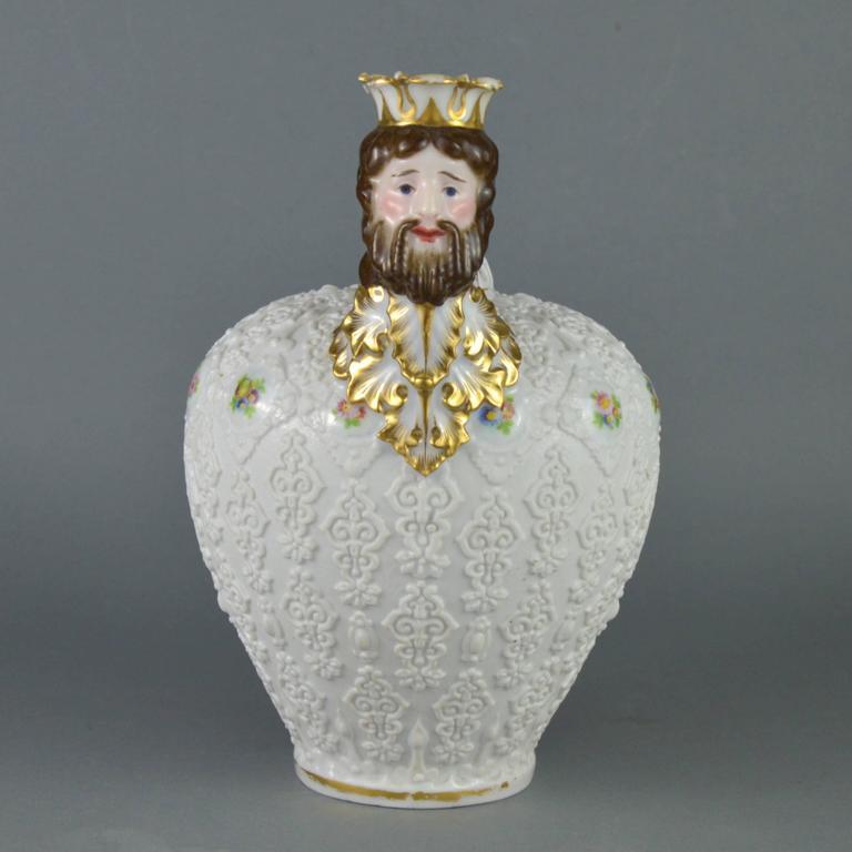 Louis Philippe Rare Collectible Porcelain Pitcher, Paris Manufacturer Jacob Petit, 19th Century For Sale