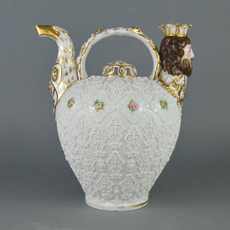 French Rare Collectible Porcelain Pitcher, Paris Manufacturer Jacob Petit, 19th Century For Sale