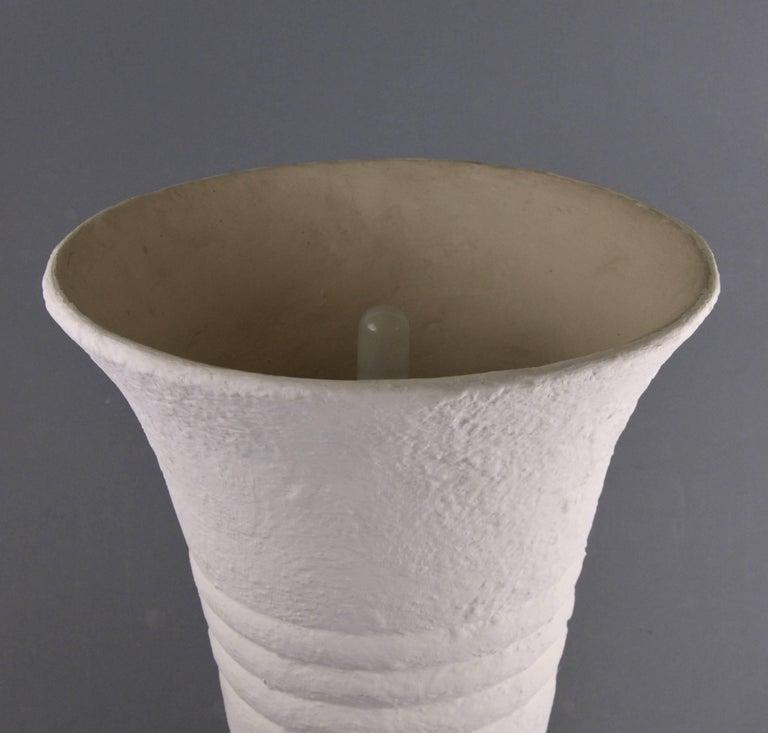 Belgian Large Art Deco White Plaster Cast Floor Lamp, 1940s For Sale