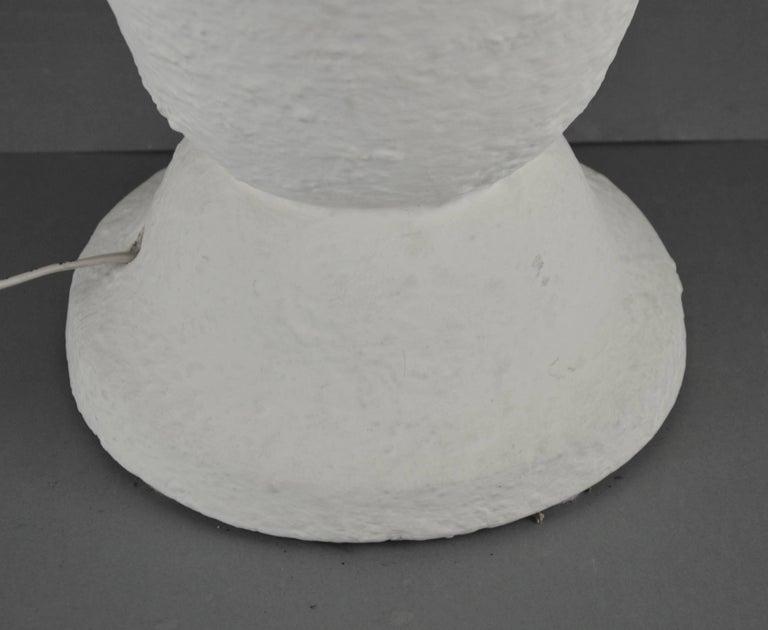 Large Art Deco white plaster cast floor lamp, Belgium, 1940s. Dimensions: height 52 cm, Ø 36 cm.