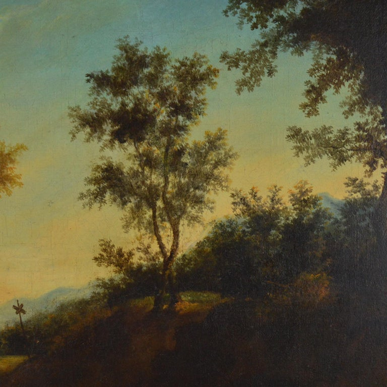 Landscape with figures painting Flemish school 18th century. Oil on canvas. Measures: 52 x 49 cm, 74 x 71 cm (frame).