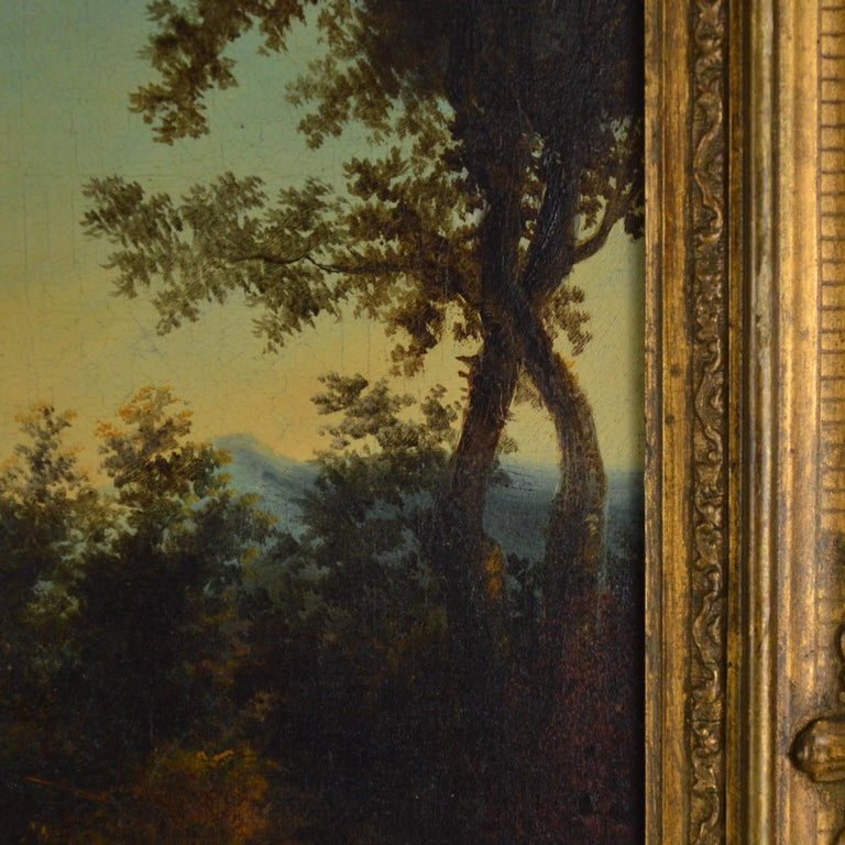Baroque Landscape with Figures Painting Flemish School, 18th Century For Sale