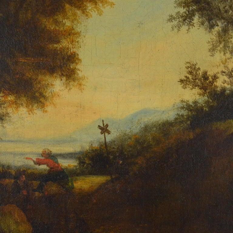 Belgian Landscape with Figures Painting Flemish School, 18th Century For Sale