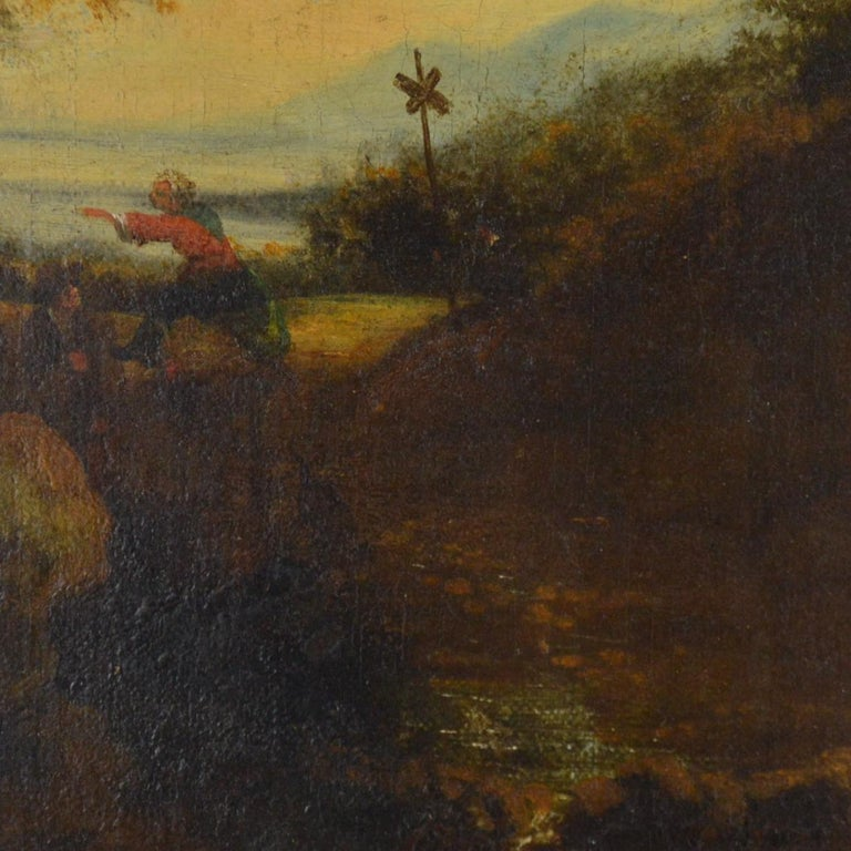 Landscape with Figures Painting Flemish School, 18th Century In Good Condition For Sale In Brussels, BE