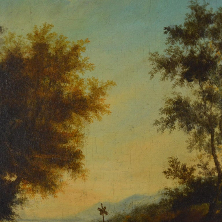 18th Century and Earlier Landscape with Figures Painting Flemish School, 18th Century For Sale