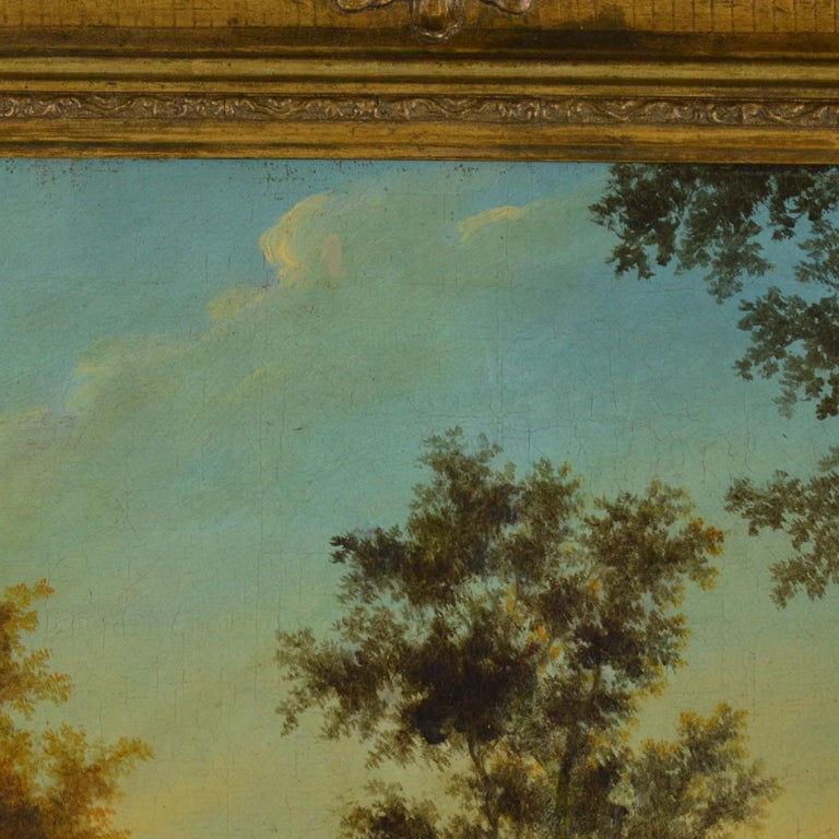 Canvas Landscape with Figures Painting Flemish School, 18th Century For Sale