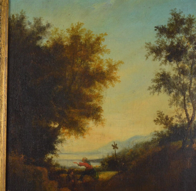 Landscape with Figures Painting Flemish School, 18th Century For Sale 1