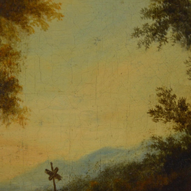 Landscape with Figures Painting Flemish School, 18th Century For Sale 2