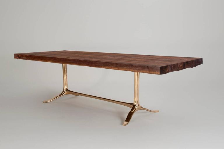 Bespoke Reclaimed Hardwood Table with Bronze Polished Base, by P. Tendercool 3