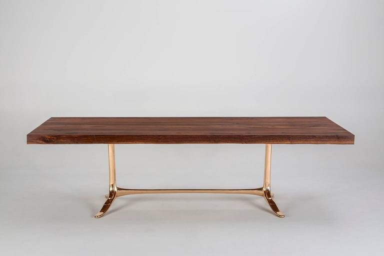 Bespoke Reclaimed Hardwood Table with Bronze Polished Base, by P. Tendercool 5