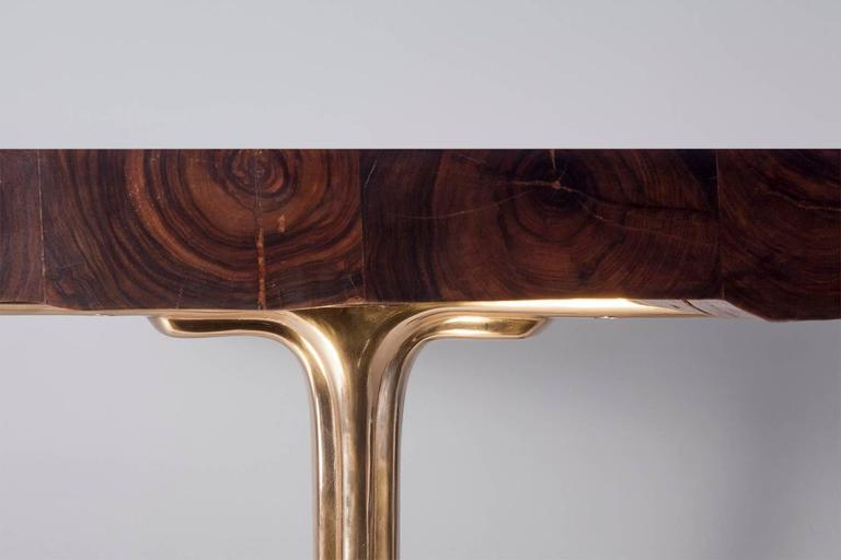 Bespoke Reclaimed Hardwood Table with Bronze Polished Base, by P. Tendercool 2