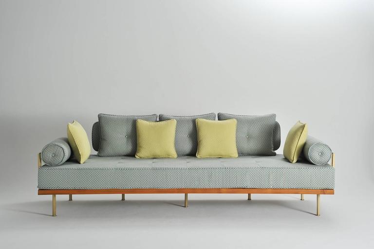 mid-century modern style sofa, reclaimed teak, brass frames,p