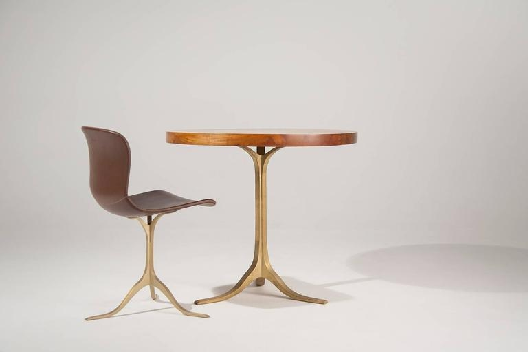 Round Table in Reclaimed Hardwood, Sand-cast Brushed Brass Base, by P.Tendercool 3
